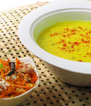 Easy And Simple Kadhi With Carrot Salad-thumb